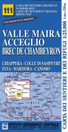 Wandelkaart Valle Maira - Acceglio - Piemonte | IGC nr.111 | 1:25.000 - ISBN 9788896455418