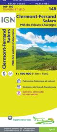 Wegenkaart - Fietskaart Clermont - Ferrand - Mauriac | Auvergne / Cantal | IGN 148 | ISBN 9782758547648