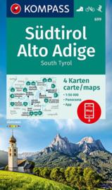 Wandelkaart - Fietskaart Zuid Tirol - Südtirol - Alto Aldige | Kompass 699 | 4-delige set ! | 1:50.000 | ISBN 9783990448564