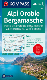 Wandelkaart Alpi Orobie -Bergamasche - Bergamasker Dolomiten | Kompass 104 | 1:50.000 | ISBN 9783991211204