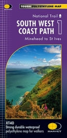 Wandelkaart  The South West coast path 1  Minehead to St Ives | Harvey | 1:40.000 | ISBN 9781851375547
