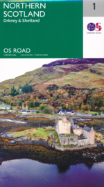 Wegenkaart Northern Scotland, Orkney & Shetland | Ordnance Survey Roadmap 1 | 1:250.000 | ISBN 9780319263730