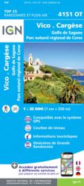 Wandelkaart Vico, Cargese, Sari d`Orcino, Golf de Sagonne | Corsica - IGN 4151OT - IGN 4151 OT