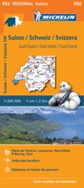 Wegenkaart Zwitserland  Zuidwest | Michelin 552 | 1:200.000 | ISBN 9782067183735