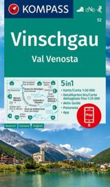 Wandelkaart Vinschgau / Venosta | Kompass 52 | 1:50.000 | ISBN 9783990447451