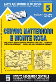 Wandelkaart Cervino-Matterhorn e Monte Rosa | IGC nr. 5 | 1:50.000 | ISBN 9788896455050