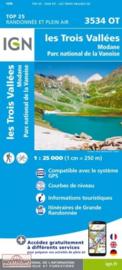 Wandelkaart Les Trois Vallées, Dent Parrachée, Courchevel,Val Thorens,Meribel-les-Allues,Modane | NP De La Vanoise |  IGN 3534 OT - IGN3534OT