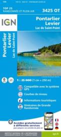 Wandelkaart Pontarlier, Levier, Lac de Saint Point | Jura |  IGN 3425OT - IGN 3425 OT | ISBN 9782758550204