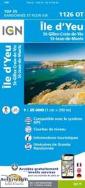 Wandelkaart Ile DYeu, Saint-Gilles-Croix-de-Vie & Saint-Jean-de-Mont | Franse Atlantische Kust |  IGN 1126OT - IGN 1126 OT | ISBN 9782758542414