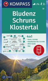 Wandelkaart Bludenz - Schruns -Klostertal | Kompass 32 | 1:50.000 | ISBN 9783990446607