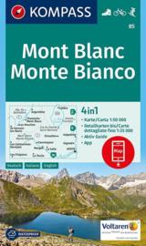 Wandelkaart Mont Blanc - Monte Bianco | Kompass 85 | 1:50.000 | ISBN 9783990442937