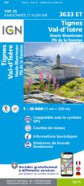Wandelkaart Tignes, Val d`Isère, Haute Maurienne, Bonneval-sur-Arc, Lanslebourg-Mont-Cenis Tignes Valle D`Isere | NP De La Vanoise | IGN 3633 ET - IGN 3633ET