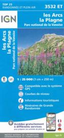 Wandelkaart Les Arcs, La Plagne, Tignes, Bourg-St.-Maurice | NP De La Vanoise | IGN 3532 ET - IGN 3532ET