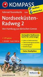 Fietskaart Noordzeekust fietsroute Hamburg - Deense Grens   Kompass 7048   1:50.000   ISBN 9783850268127