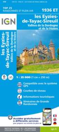 Wandelkaart Les Eyzies, St.-Cyprien, le Bugue, Beynac | Dordogne | IGN 1936ET - IGN 1936 ET