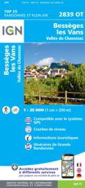 Wandelkaart Besseges -Les-Vans -Vallee la Chassezac   Cevennen - Ardeche   IGN 2839OT - IGN 2839 OT   ISBN 9782758545460