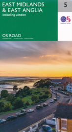 Wegenkaart East Midlands & East Anglia inclusief Londen | Ordnance Survey road map 5 | 1:250.000 | ISBN 9780319263778