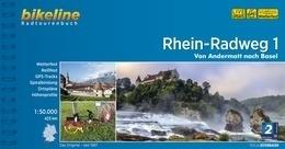 Fietsgids Rhein Radweg 1 - 425 km. | Bikeline | Andermat - Basel | ISBN 9783850004855