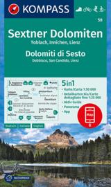 Wandelkaart Sextener Dolomiten | Kompass 58 | 1:50.000 | ISBN 9783991211181