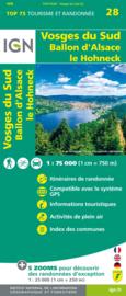 Wandelkaart - Fietskaart Vogezen - Vosges du Sud - Ballon d`Alsace - Le Hohneck nr. 28 | 1:75.000 | ISBN 9782758549741