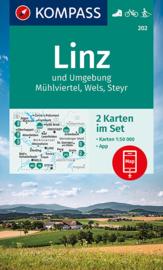 Wandelkaart Linz - Wels - Steyr | Kompass 202 | 1:50.000 | ISBN 9783991212584
