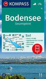 Wandelkaart Bodensee Gesamtgebiet | Kompass 1c | 1:75.000 | ISBN 9783990448410