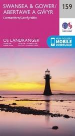 Wandelkaart Ordnance Survey | Swansea & Gower 159 | ISBN 9780319262573