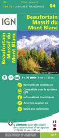 Wandelkaart - Fietskaart Beaufortain - Massif du Mont Blanc | IGN TOP 75 nr. 4 | ISBN 9782758532682