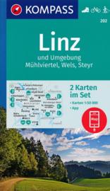 Wandelkaart Mühlviertel - Linz - Wels - Steyr | Kompass 202 | 1:50.000 | ISBN 9783990444863
