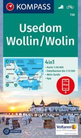 Wandelkaart Usedom en Wollin | Kompass 738 | 1:50.000 / 1:60.000 | ISBN 9783990443200