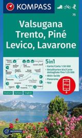 Wandelkaart Valsugana - Trentino Levico Lavarone | Kompass 75 | 1:50.000 | ISBN 9783990444382