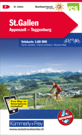 Fietskaart St-Gallen / Appenzell | Kümmerly+Frey nr. 07 | 1:60.000 | ISBN 9783259024072