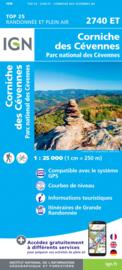 Wandelkaart Corniche des Cevennes, Barre des Cevennes, La Grand-Combe, St.-Andre-de-Valborgne | Cevennen |  IGN 2740ET -IGN 2740 ET | ISBN 9782758546597