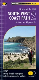 Wandelkaart  The South West coast path 2  St Ives to Plymouth | Harvey | 1:40.000 | ISBN 9781851375554