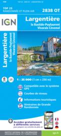 Wandelkaart l`Argentière, Vivarais Cévenol | Ardèche | IGN 2838 OT - IGN 2838OT