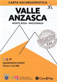Wandelkaart Valle Anzasca - Monte Rosa - Macugnaga | Geo4Map kaart 5 | 1:25.000 | ISBN 9788894021059