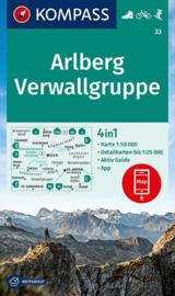 Wandelkaart Arlberg -Verwallgruppe | Kompass 33 | 1:50.000 | ISBN 9783990449417