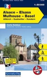 Wandelkaart Vogesen - Elsass / Mulhouse - Basel | Kümmerly & Frey 02 | 1:50.000 | ISBN 9783259007266