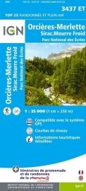 Wandelkaart Orcieres-Merlette, Sirac & Mourre Froid | NP Ecrins | IGN 3437 ET - IGN 3437ET