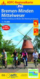 Fietskaart Bremen-Minden Mittelweser   BVA - ADFC   1:75.000   ISBN 9783969900499