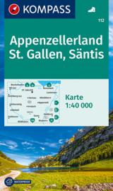 Wandelkaart Appenzellerland - St. Gallen - Säntis   Kompass 112   1:50.000   ISBN 9783990449608