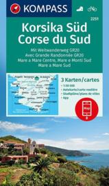 Wandelkaart - Fietskaart Corsica-Zuid - Korsika Süd  | Kompass 2251 | 3 delige kaartenset | ISBN 9783990444016