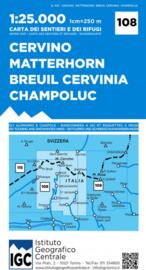 Wandelkaart Matterhorn - Breuil-Cervinia | IGC nr. 108 | 1:25.000 | ISBN 9788896455692