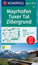 Wandelkaart Mayrhofen Tuxer Tal Zillergrund | Kompass 037 | 1:25.000 | ISBN 9783990445563