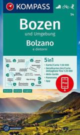 Wandelkaart Bozen und Umgebung : Bolzano e dintorni | Kompass 54 | 1:50.000 | ISBN 9783990447079