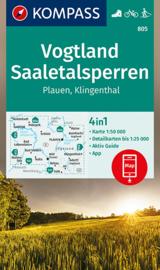 Wandelkaart  Vogtland-Saaletalsperren-Plauen-Klingenthal   Kompass 805   1:50.000   ISBN 9783991210696