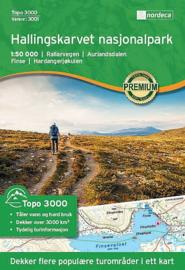 Wandelkaart Hallingskarvet nasjonalpark : Rallarvegen - Aurlandsdalen - Finse - Hardangerjøkulen | Nordeca 3001 Topo 3000 | ISBN 7046660030011