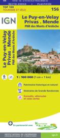Wegenkaart - Fietskaart Le Puy en Velay - Privas | Auvergne / Haute-Loire | IGN 156 | ISBN 9782758547686