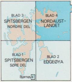 Landkaart Spitsbergen - Svalbard Zuidwest:  Kaart nr. 01 | 1:500 000 | Norsk Polarinstitutt | Svalbardkart - Lnr 8863
