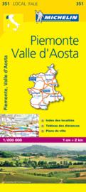 Wegenkaart Piemonte , Valle d`Aosta | Michelin nr. 351 | 1:200.000 | ISBN 9782067127135